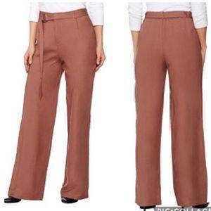 H by Halston wide leg highwaist linen pants/belt 2